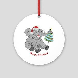 GOP Elephant & Tree Christmas Round Ornament