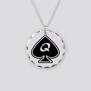 Queen Of Spades Necklace Circle Charm
