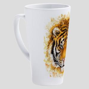 Artistic Tiger Face 17 oz Latte Mug