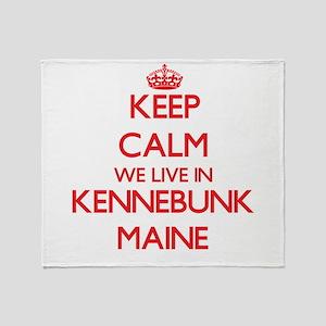 Keep calm we live in Kennebunk Maine Throw Blanket
