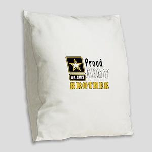 Army Brother Burlap Throw Pillow