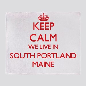 Keep calm we live in South Portland Throw Blanket