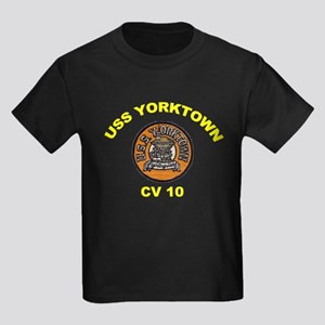 USS Yorktown CVA 10 Kids Dark T-Shirt