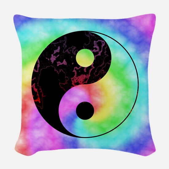 Rainbow Tie Dye Yin Yang Woven Throw Pillow