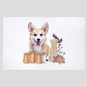 Welsh Corgi Puppy with Pumpkins 4' x 6' Rug