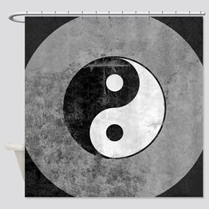 Distressed Yin Yang Symbol Shower Curtain