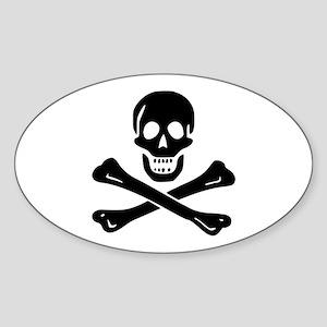 Classic Skull and Crossbones Oval Sticker