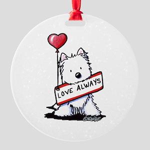 Love Always Westie Round Ornament