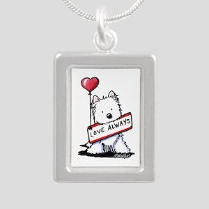 Love Always Westie Silver Portrait Necklace