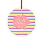 Personalizable Monogram Bunny Ornament (Round)