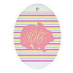 Personalizable Monogram Bunny Ornament (Oval)