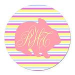 Personalizable Monogram Bunny Round Car Magnet