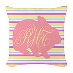 Personalizable Monogram Bunny Woven Throw Pillow