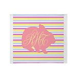 Personalizable Monogram Bunny Throw Blanket