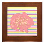 Personalizable Monogram Bunny Framed Tile