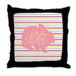 Personalizable Monogram Bunny Throw Pillow