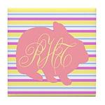 Personalizable Monogram Bunny Tile Coaster