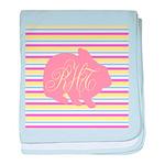 Personalizable Monogram Bunny baby blanket