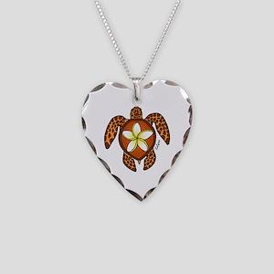 Honu Plumeria Necklace Heart Charm