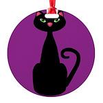 Black Cat on Purple Ornament