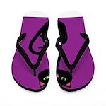 Black Cat on Purple Flip Flops