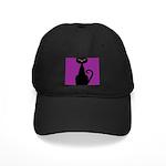 Black Cat on Purple Baseball Hat