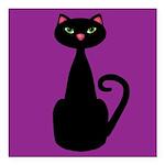 Black Cat on Purple Square Car Magnet 3