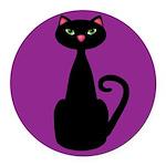 Black Cat on Purple Round Car Magnet
