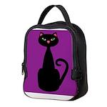 Black Cat on Purple Neoprene Lunch Bag