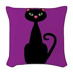 Black Cat on Purple Woven Throw Pillow
