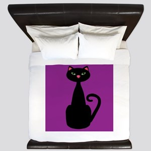 Black Cat on Purple King Duvet