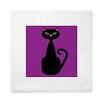 Black Cat on Purple Queen Duvet