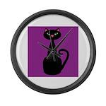 Black Cat on Purple Large Wall Clock