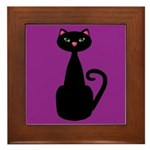 Black Cat on Purple Framed Tile
