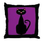 Black Cat on Purple Throw Pillow