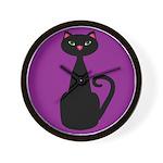 Black Cat on Purple Wall Clock