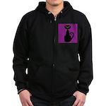 Black Cat on Purple Zip Hoodie