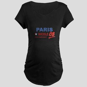 Paris and Nicole for presiden Maternity Dark T-Shi