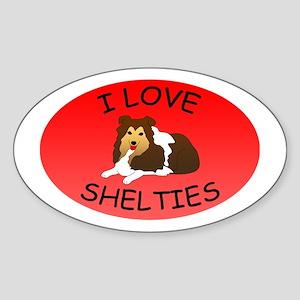 I Love Shetland Sheepdogs Sticker (Oval)