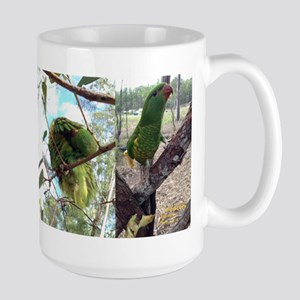 Four Faces Of Larry Lorikeet Large Mug Mugs