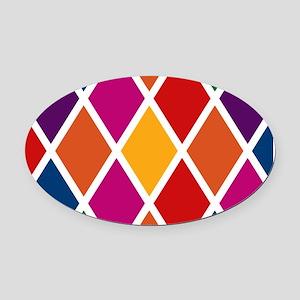 Colorful Harlequin Pattern Oval Car Magnet