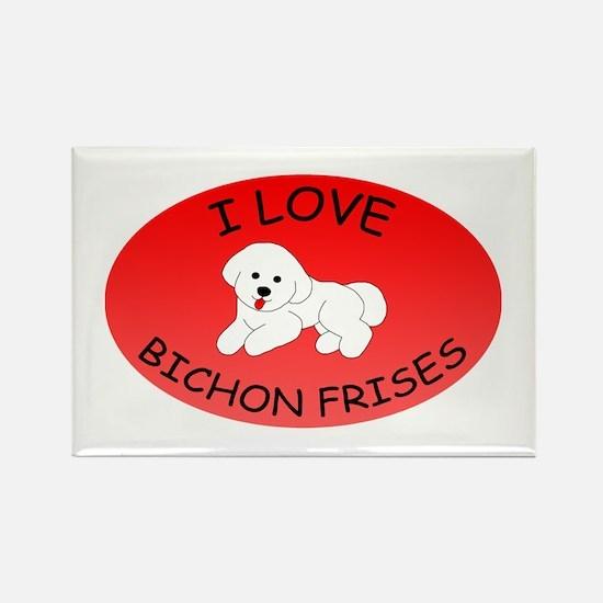 I Love Bichon Frises Rectangle Magnet