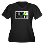 Stay Chilly! Women's Plus Size V-Neck Dark T-Shirt