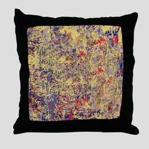 Abstract Textures in Creme, Blue and  Throw Pillow