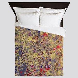 Abstract Textures in Creme, Blue and R Queen Duvet