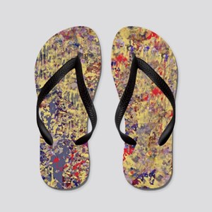 Abstract Textures in Creme, Blue and Re Flip Flops