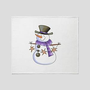 SNOWMAN WITH STAR GARLAND Throw Blanket