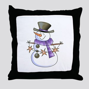 SNOWMAN WITH STAR GARLAND Throw Pillow