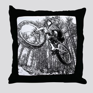 Flying fatbike Throw Pillow