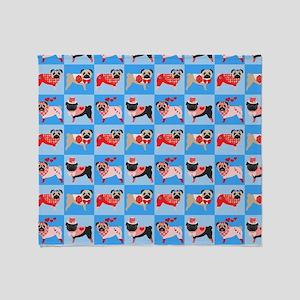 Pug Valentine Quilt Throw Blanket